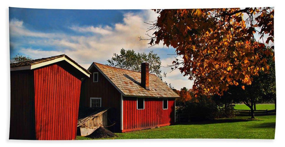Hale Farm Bath Sheet featuring the photograph Hale Farm In Autumn by Joan Minchak