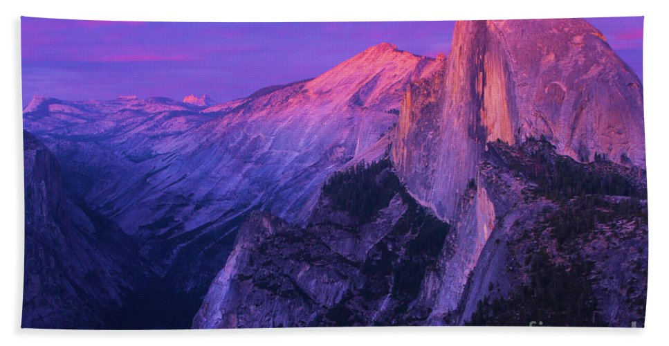 Half Dome Bath Towel featuring the photograph Half Purple Dome by Adam Jewell
