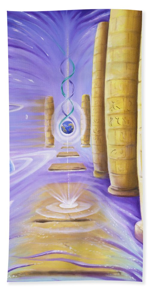 Surealism Bath Sheet featuring the painting Halls Of Creation by Teresa Gostanza