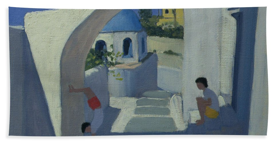 Greek Island Hand Towel featuring the painting Handstand by Andrew Macara