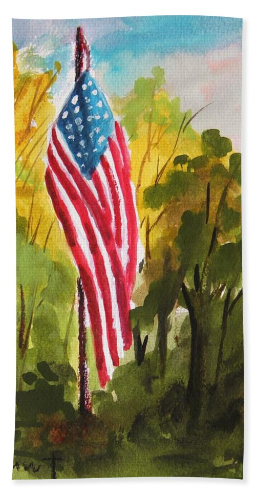 American Flag Hand Towel featuring the painting Hanging Gracefully by John Williams