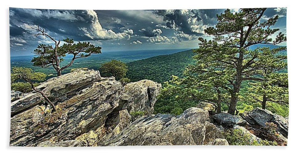 Hanging Rock State Park Hand Towel featuring the photograph Hanging On To Life by Adam Jewell