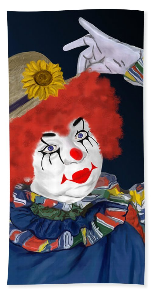Happy Clown Hand Towel featuring the painting Happy Clown by Methune Hively