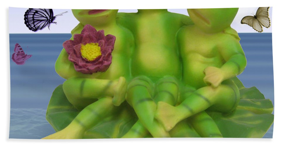 2d Bath Sheet featuring the photograph Happy Frogs by Brian Wallace