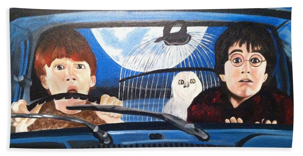 Harry Potter Hand Towel featuring the painting Harry And Ron by Julie Cranfill