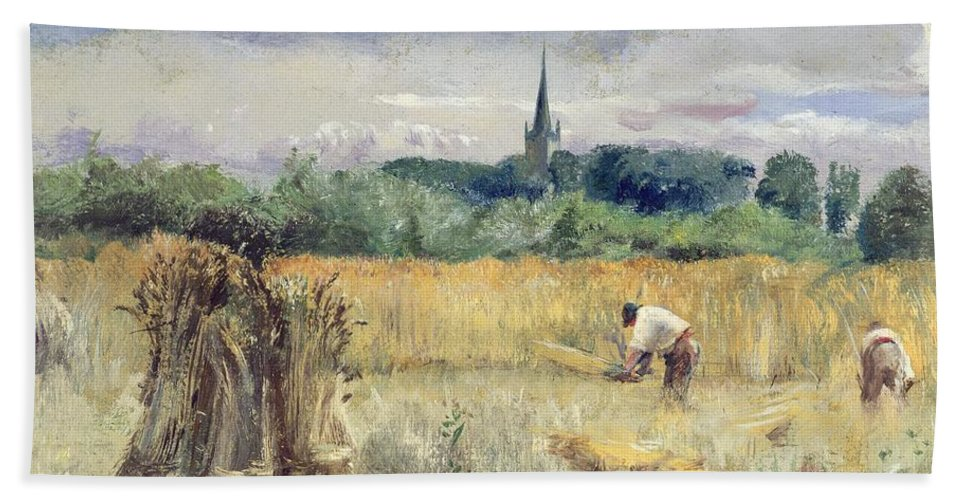 Harvest Field Hand Towel featuring the painting Harvest Field At Stratford Upon Avon by John William Inchbold