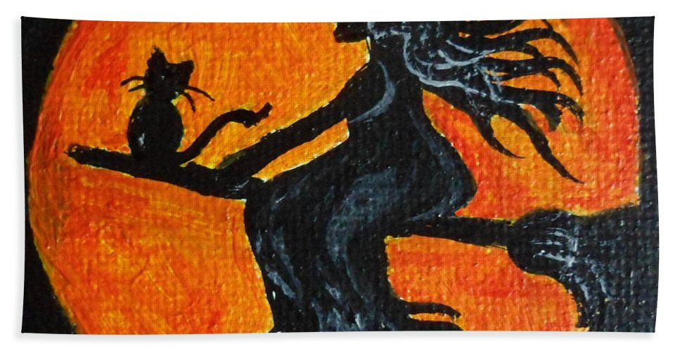 Witch Hand Towel featuring the painting Harvest Moon by Julie Brugh Riffey