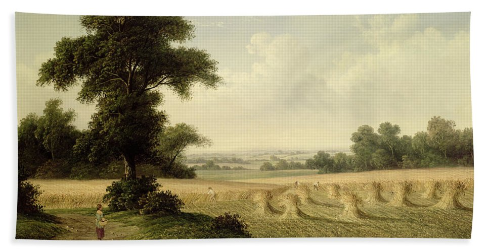 Harvest; Landscape; Wheat Sheaf; Sheaves; Workers; Agriculture; Farm; Field; Labour; Working; English; Victorian Bath Sheet featuring the painting Harvesting by Walter Williams