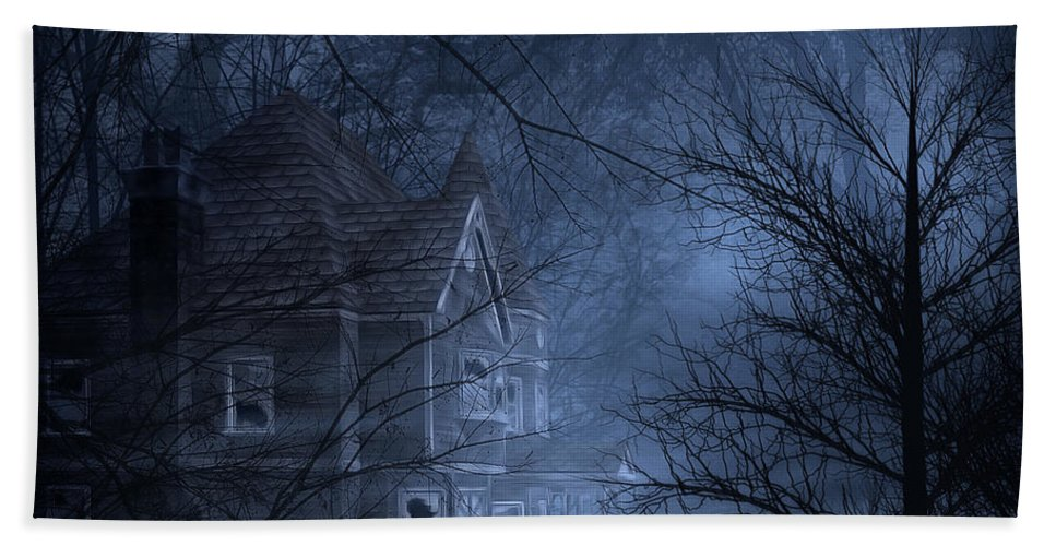 Abandoned Hand Towel featuring the digital art Haunted Place by Svetlana Sewell