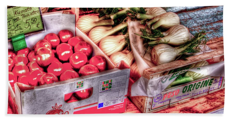Vegetables Bath Sheet featuring the photograph Hauptmarkt by Bill Lindsay