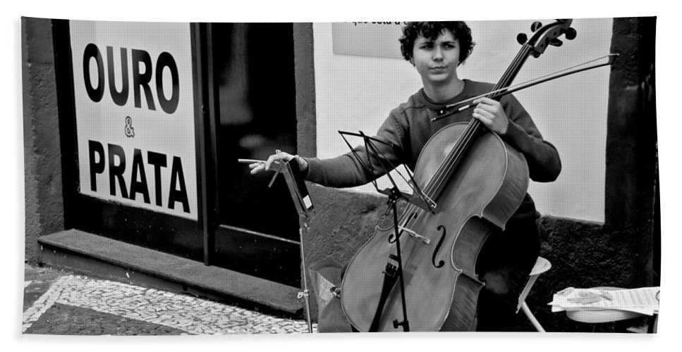 Ponta Delgada Hand Towel featuring the photograph Have Cello Will Play by Eric Tressler