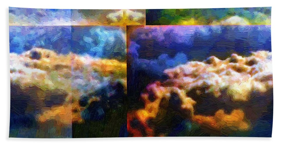 Abstract Bath Sheet featuring the painting Have I Died And Gone Somewhere I Don't Believe In? by RC DeWinter
