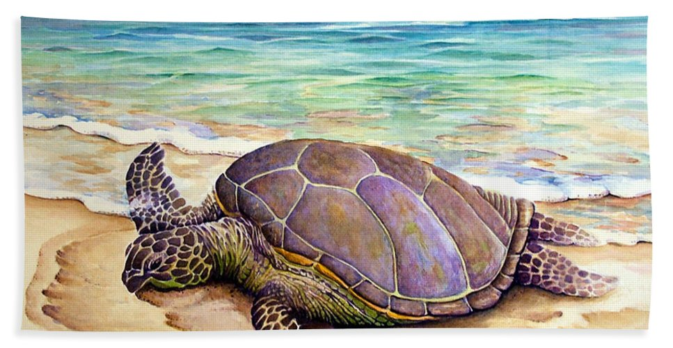 Green Hawaiian Turtle Hand Towel featuring the painting Hawaiian Green Turtle by Vincent Callagher