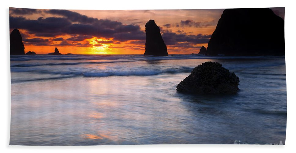 Haystack Rock Bath Sheet featuring the photograph Haystack Sunset by Mike Dawson