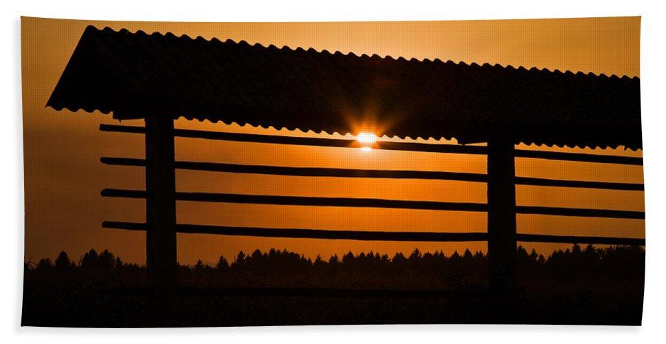 Kozolec Bath Sheet featuring the photograph Hazy Summer Sunset by Ian Middleton