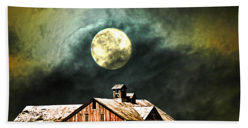 Moon Barn Hand Towel featuring the photograph Hdr Moon And Barn by Randall Branham