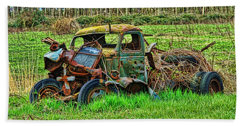 Trucks Hand Towel featuring the photograph Hdr Wreck by Randy Harris