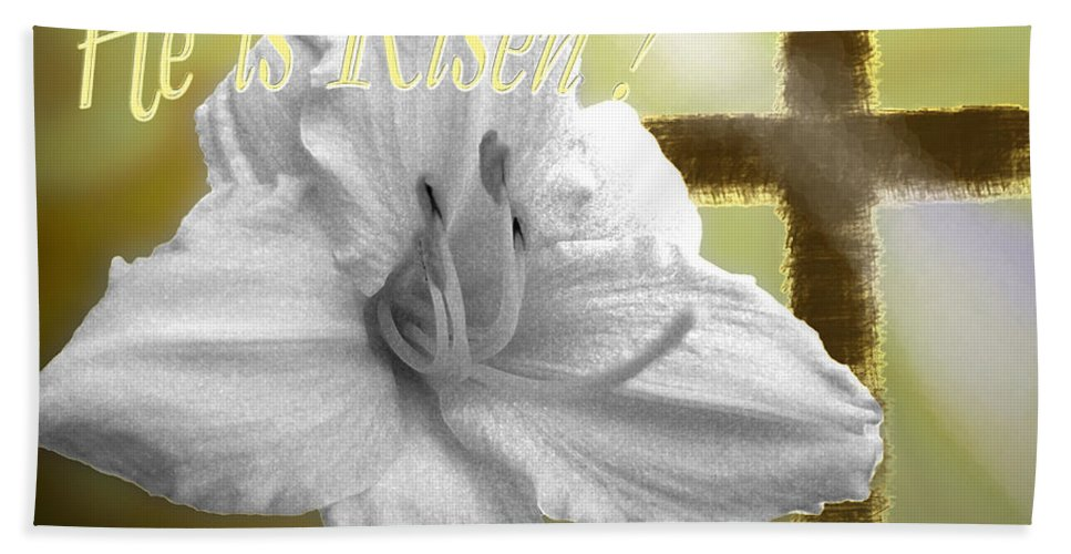 Easter Bath Sheet featuring the digital art He Is Risen by Debbie Portwood