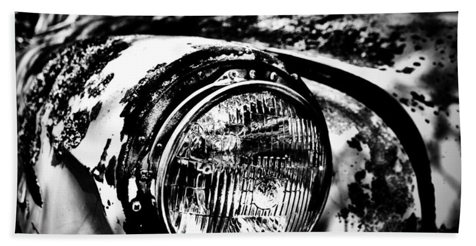 Well Bath Sheet featuring the photograph Headlights In The Woods by The Artist Project