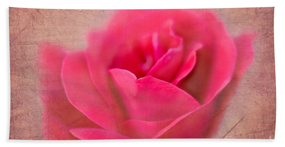Rose Bath Sheet featuring the photograph Heart Of The Rose by Betty LaRue