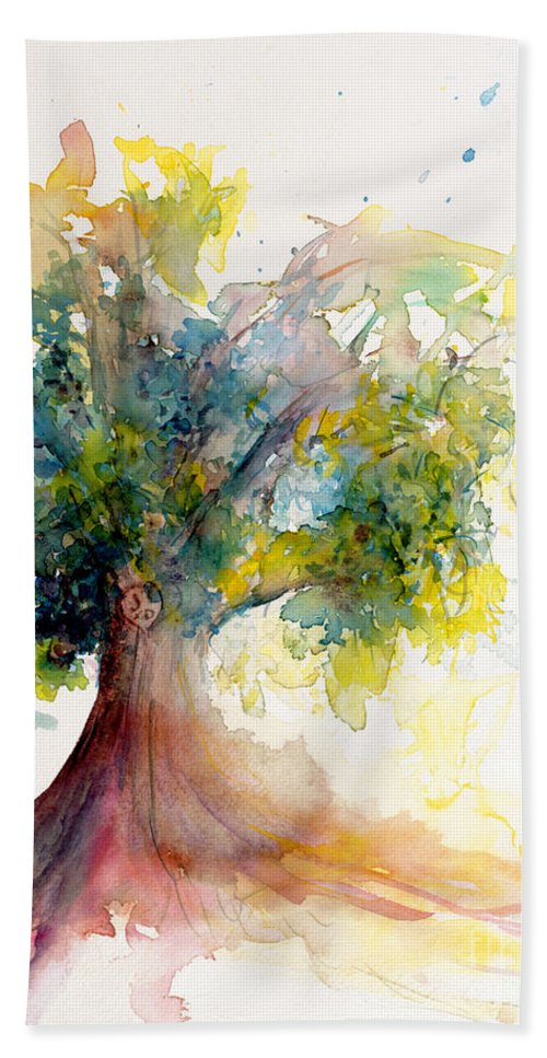 Tree Bath Sheet featuring the painting Heart Tree by CheyAnne Sexton