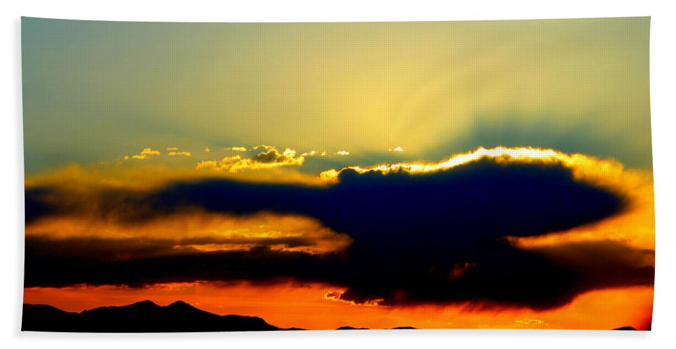 Sunset Bath Sheet featuring the photograph Heaven Is Watching by Jeanette C Landstrom