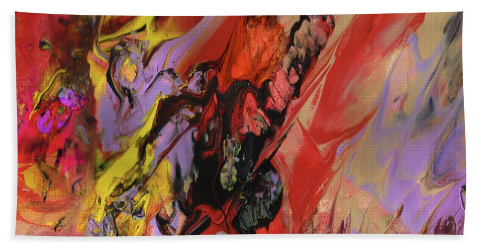 Abstract Bath Sheet featuring the painting Hell by Miki De Goodaboom