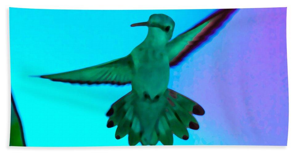 Humingbird Bath Sheet featuring the digital art Hello There by Betsy Knapp