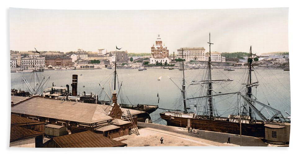 Helsinki Hand Towel featuring the photograph Helsinki Finland - Russian Cathedral And Harbor by International Images