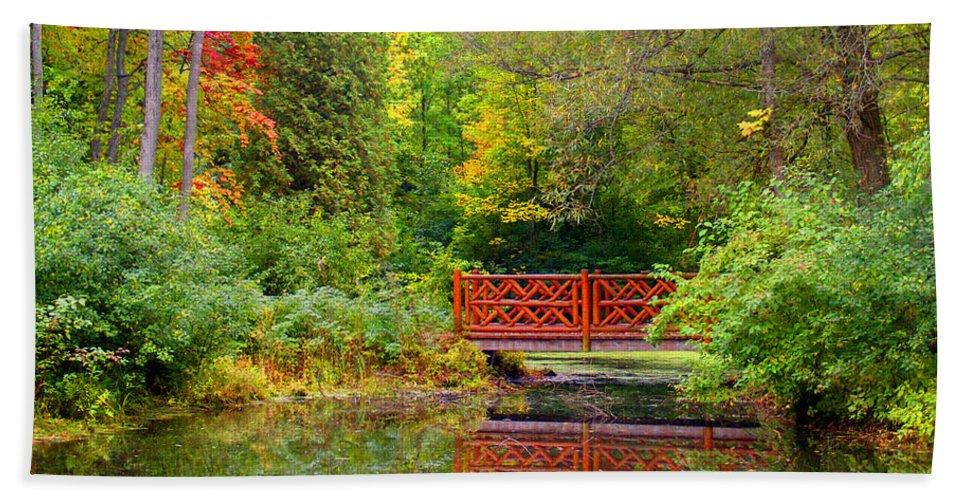 Park Photograph Bath Sheet featuring the photograph Henes Park Pond Bridge by Ms Judi