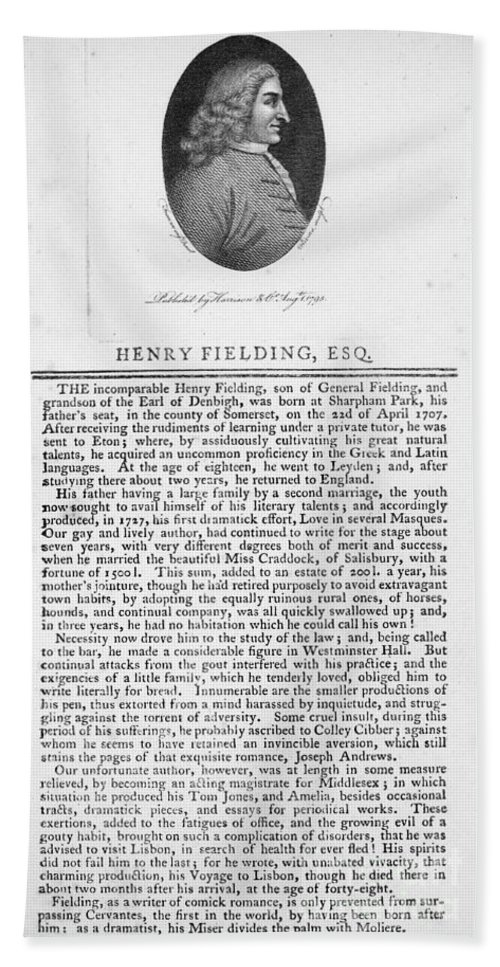 18th Century Bath Sheet featuring the photograph Henry Fielding (1707-1754) by Granger