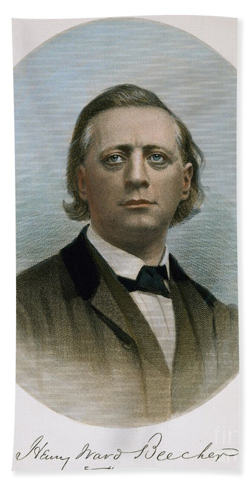 19th Century Hand Towel featuring the photograph Henry Ward Beecher (1813-1887). American Clergyman. At Age 50: Steel Engraving, 19th Century by Granger