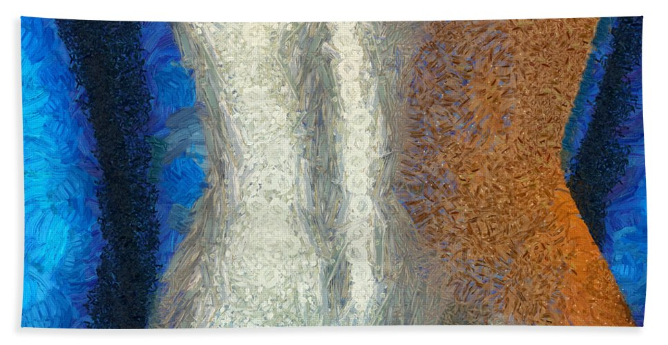 Female Bath Sheet featuring the mixed media Her Figure 1 by Angelina Vick