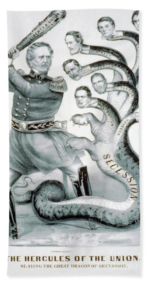 History Hand Towel featuring the photograph Hercules Of The Union, 1861 by Photo Researchers