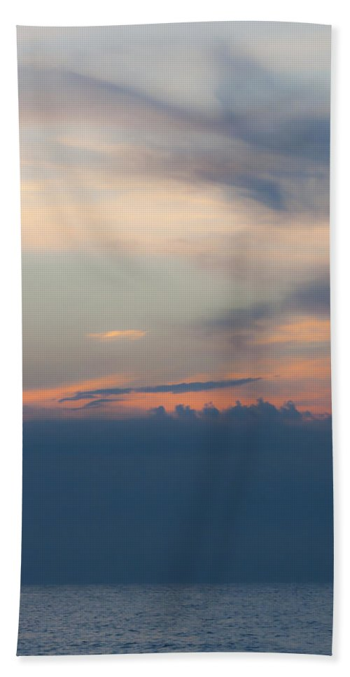 Sunrise Hand Towel featuring the photograph Hidden Behind The Clouds 2 by Teresa Mucha