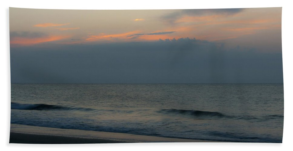 Sunrise Hand Towel featuring the photograph Hidden Behind The Clouds by Teresa Mucha