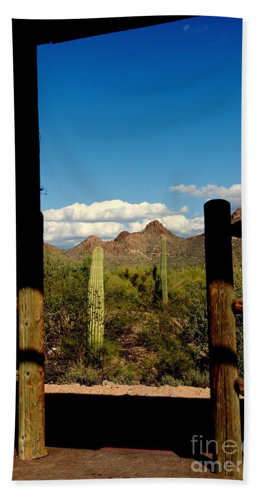 High Chaparral Bath Sheet featuring the photograph High Chaparral Old Tuscon Arizona by Susanne Van Hulst