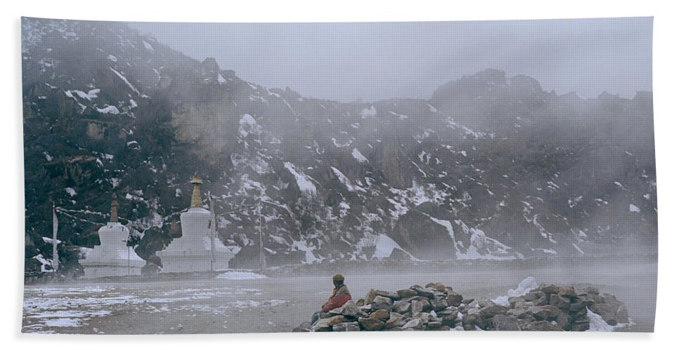 Himalayan Mountains Hand Towel featuring the photograph High In The Himalayas by Shaun Higson