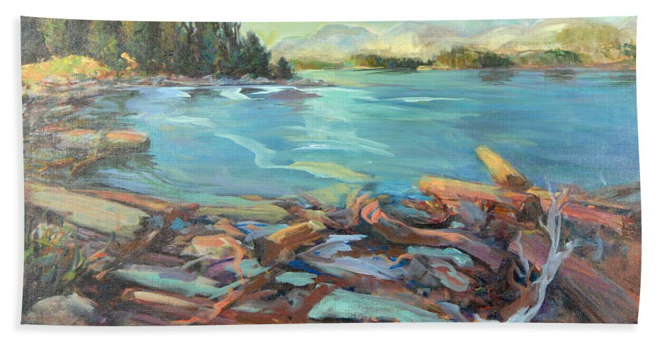 Seascape Hand Towel featuring the painting Highest Tide Rebecca Spit by Nanci Cook