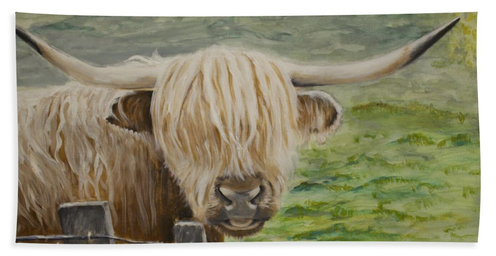 Highland Cow Bath Sheet featuring the painting Highland Cow by Boni Arendt