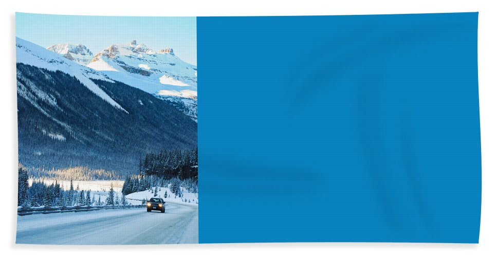 Alp Bath Sheet featuring the photograph Highway In Winter Through Mountains by U Schade