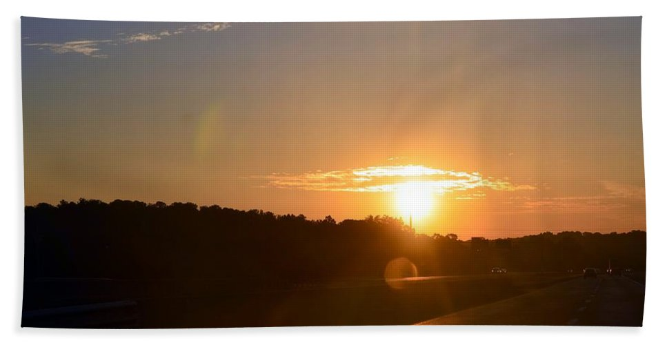 Highway Hand Towel featuring the photograph Highway Sunrise by Maria Urso