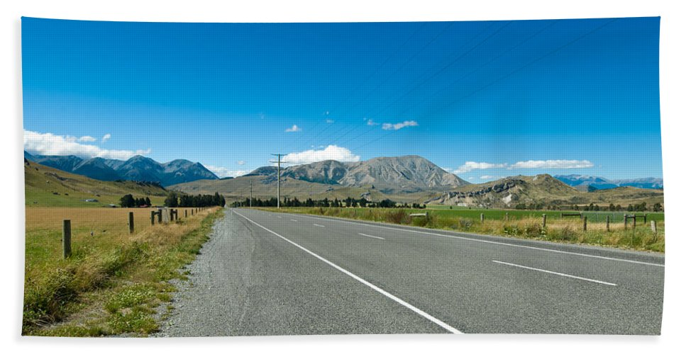 Alp Bath Sheet featuring the photograph Highway Towards Panoramic Mountain by U Schade