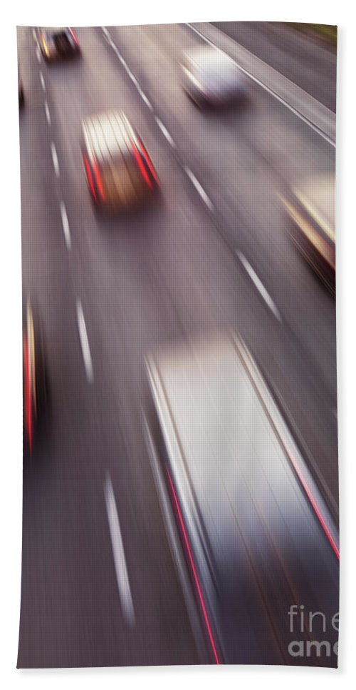 Highway Bath Sheet featuring the photograph Highway Traffic In Motion by Oleksiy Maksymenko