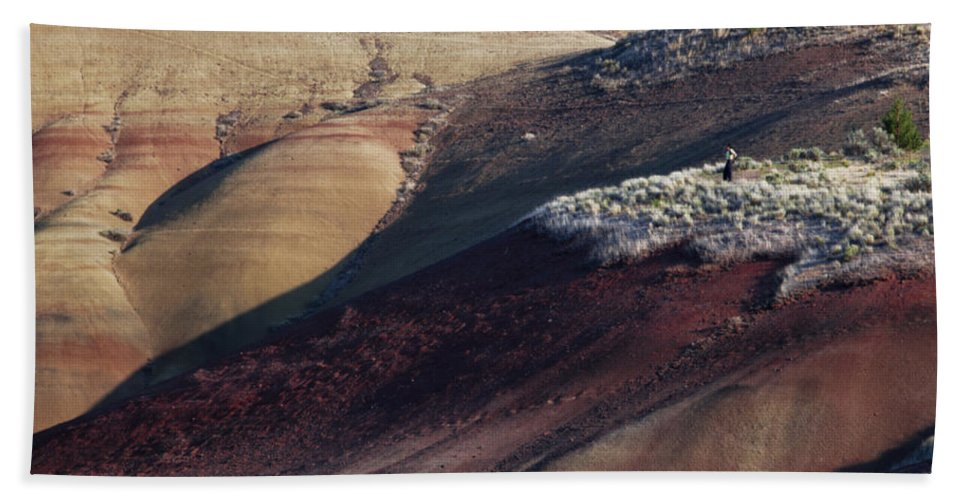 Exploration Bath Sheet featuring the photograph Hiking In The Painted Hills by Karen Ulvestad