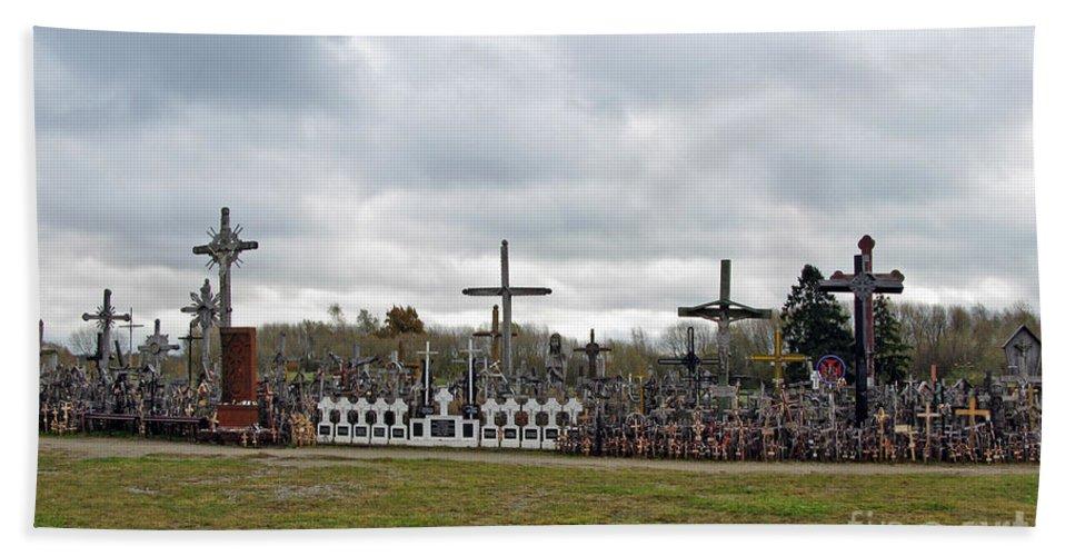 Lithuania Bath Sheet featuring the photograph Hill Of Crosses 05. Lithuania by Ausra Huntington nee Paulauskaite
