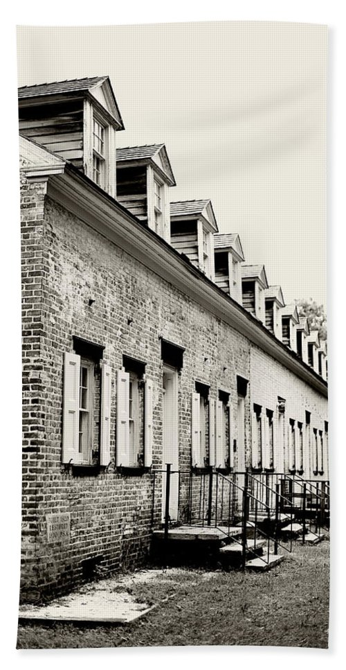 Allaire Village Hand Towel featuring the photograph Historic Row Homes Allaire Village by Terry DeLuco