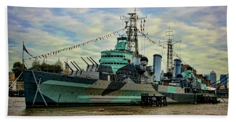 Hms Belfast Hand Towel featuring the photograph Hms Belfast by Heather Applegate