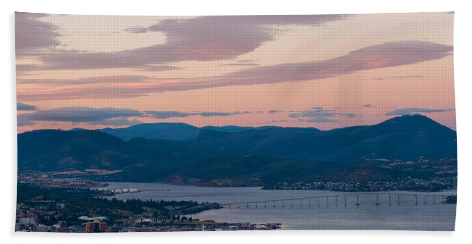 Australia Bath Sheet featuring the photograph Hobart Harbour During Sunset by U Schade