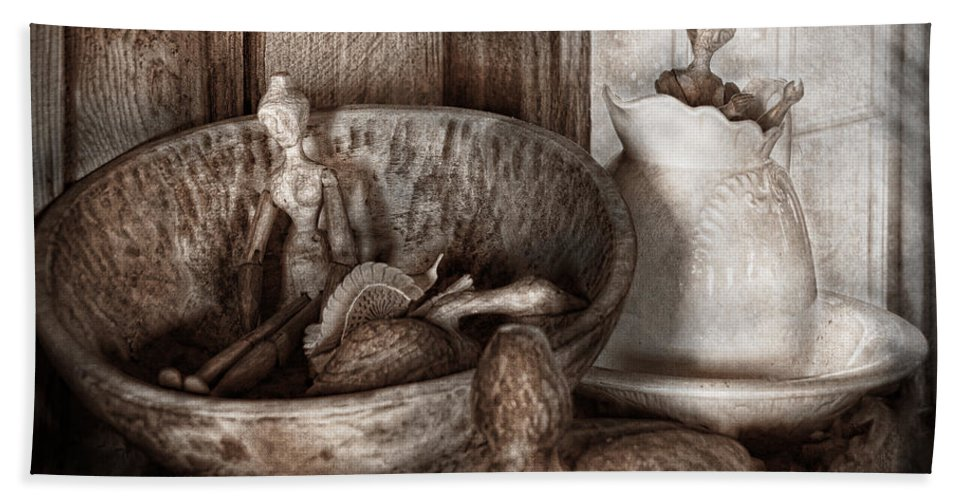 Child Hand Towel featuring the photograph Hobby - Wood Carving - Wooden Toys by Mike Savad